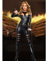 Wholesale Whip Women - Vinyl Sexy Leather PVC Catsuit Cosplay Animal Costumes For Womens Black Latex Rubber Clothing Lingerie Bodysuits With Whip