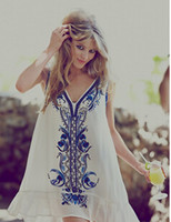 Wholesale Beaded L - 2015 New Free Style Heavy Beaded Flowers Embroidered Beach Slim Boho People Dress SIZE S-L White and Blue Colours
