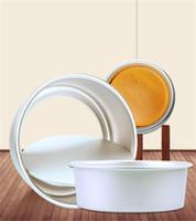 canlı kek toptan satış-100 adet / grup Yuvarlak Kek Kalıp Canlı Alt Alüminyum Alaşım Kek Araçları Yüksek Kaliteli Pişirme Kalıpları IC910