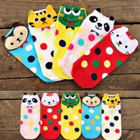 Wholesale Cartoon Color Frogs - Wholesale-New arrival Women girl's cotton socks Cartoon animal Frog Tiger Panda Cats socks Candy color dot socks Wholesales