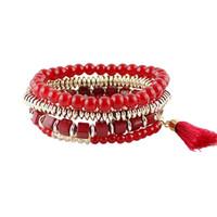 Wholesale Blue Elastic Bracelet - New Year's Gift Created Gemstone Elastic Beads Bracelet for Women Red Blue Black Champagne Color Bracelet