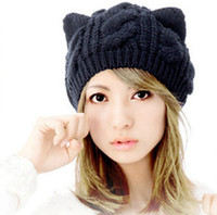 Wholesale Wholesale Hat Cat Ears - Cat Ear New Arrival Elegant Women Knitted Hats Fur Rabbit Cap Autumn Winter Ladies Female Fashion Skullies Hat xz92