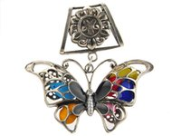 Wholesale Scarf Necklace Butterflies - 12pcs lot Rushed Charms Animals Black Butterfly Charm Diy Jewelry Pendants Scarves 2015 New Necklace Scarf Women Pendant Accessories Zh0029