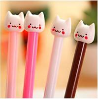 sevimli renkli kalemler toptan satış-Sevimli karikatür hayvan kedi tarzı renkli jel-mürekkep kalem seti kawaii kore kırtasiye ofis okul malzemeleri jel kalem 12 adet / grup ARC284