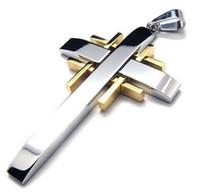 klasik altın çapraz kolye toptan satış-Erkek Paslanmaz Çelik Kolye Kolye Gümüş Altın Çapraz Vintage-23 inç Zinciri ile
