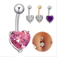 Wholesale Navel Ring Purple - Fashion Womens Pink Purple White Crystal Rhinestone Heart-shaped Navel Rings Sexy Bar Button Rings Belly Piercing Jewelry 3 Colors Wholesale