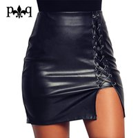 Großhandel-Neue Bleistiftrock Frauen Schwarz Bodycon Verband Röcke Reißverschluss Lace Up Split Seitenschlitz Party Club Wear Pu-leder Rock Frauen