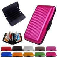 Wholesale Purple Aluminum Wallet - Colorful Waterproof Aluminum wallet Waterproof Metal Business Card Wallet Holder Case Box Various color DHL Free