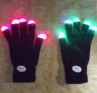 Wholesale Glow Gloves Fingertips - Retail 7 Modes color changing flashing Led glove for KTV Party Finger Flashing Glow Flashing Fingertip Light LED Gloves Magic Gloves