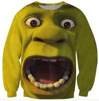 Wholesale Shrek Clothes - Monster mouth Harajuku fashion 2015 men women's 3D sweatshirt print cartoon Shrek crewneck funny pullover hoodie clothing tops
