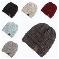 Wholesale Confetti Wholesale - 6 Colors Women CC Confetti Print Ponytail Caps CC Knitted Beanie Fashion Winter Warm Hat Back Hole Pony Tail Casual Beanies CCA8226 100pcs