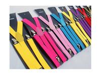 Wholesale Fancy Dress Braces - Fashion Women Men Clip-on Suspenders Y-Shape Adjustable Braces Solid Color Fancy Dress 10pcs  lot Dubai Fashion Show Best Seller