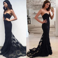 Wholesale Cheap Winter Outfits - Sweetheart Black Lace Prom Dresses Mermaid Custom Made Long Party Dress Outfit Clothing Women Cheap Evening Gown 2017