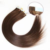 Wholesale brazilian human hair 18 5a resale online - A quot quot Human hair PU EMY Tape Skin Hair Extensions g g set light brown DHL free