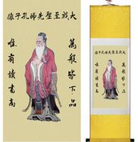 ingrosso muro arte cinese appeso scorrimento-1 Pezzo HD Stampato Kongzi Wall Pictures Cinese Scroll Silk Wall Art Poster Immagine Pittura Decorazione Della Casa Appeso A Parete