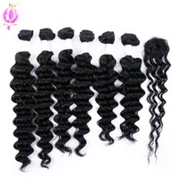 Wholesale Colored Brazilian Hair Weave - DOHEROINE Pre-colored 1# Brazilian Remy Hair Deep Wave & Loose Wave 6 Bundles With Closure Human Hair Bundles With Lace Top Closure