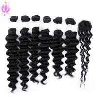 Wholesale Loose Deep Wave Remy - DOHEROINE Pre-colored 1# Brazilian Remy Hair Deep Wave & Loose Wave 6 Bundles With Closure Human Hair Bundles With Lace Top Closure