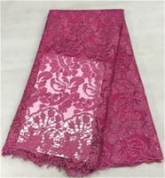 tejido jacquard africano al por mayor-Nueva tela roja púrpura francesa del cordón de la manera con el jacquar grande y tela africana del cordón de las gotas para el partido BN4-1,5yards / pc