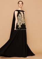 Wholesale Short Dress Shawl - black shawl A-line formal evening dresses 2018 georges hobeika dresses for evening heavily embroideried evening gowns