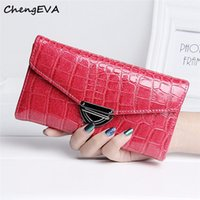 Wholesale Fur Purse Patterns - Wholesale- 2016 New Luxury High Quality Women Fashion Crocodile Pattern Coin Purse Long Wallet Card Holders Handbag Bag Free Shipping Dec 9