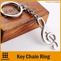 cadena de notas musicales al por mayor-llavero llavero llavero plateado plateado nota musical para coche metal símbolo de música llaveros