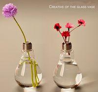 şeffaf çiçek vazolar toptan satış-Yeni Gelmesi Ampul şeffaf cam vazo modern moda topraksız çiçek vazo dekorasyon vazo