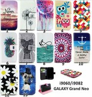 Wholesale Galaxy Grand Duos Flip Covers - charming 12 Patterns Cartoon PUwallet Leather Flip Stand Case Cover For Samsung Galaxy Grand Neo Plus I9060 I9060I I9062 grand duos i9082