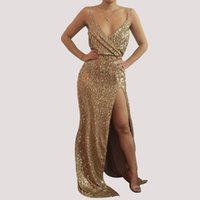 Wholesale ladies club dresses - 2017 NEW Gold Sequin Evening Gown Dress Sleeveelss V-Neck Split Maxi Formal Prom Dress Ladies Petite Cocktail Party Dress Clubwear LJE1107