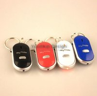 Wholesale Cell Phones Child Locator - LED Key Finder Locator Find Lost Keys Chain Keychain Whistle Sound Control Key Finder with Retail Packing JJD2304