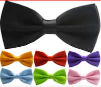 Wholesale Pink Pre - Cheap Men's Fashion Tuxedo Classic Solid Color Butterfly Wedding Party Bow tie Groom Ties Bow Ties Men Vintage Wedding party pre-tie Bow tie