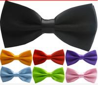 ingrosso tuxedos di champagne-Tuxedo moda uomo classico tinta unita farfalla festa nuziale farfallino sposo cravatte papillon da uomo vintage festa di nozze pre-cravatta papillon