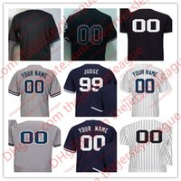 Wholesale Base Number - Mens New York Customized #99 Judge Sanchez Jeter White Home Gray Navy Sewn On Any Name Any Number Cool Flex Base Jersey S-4XL