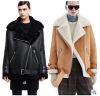 erkek shearling toptan satış-Toptan-Deri süet havacı ceket Profili kuzu yünü dönüştürülebilir kürk yaka yıkanmış deri ceketler çiftler shearling coat kadınlar / erkekler