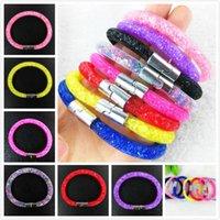 Wholesale European Bead Stardust - Beautiful Design Mesh Stardust Bracelet with Women Multicolor Clay Crystal Magnetic Clasp Charm Bracelet 3000PCS DHL Free