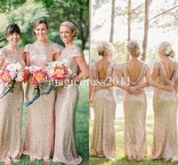 Wholesale White Formal Dresses For Sale - 2015 Gold Sequin Bridesmaid Dress Long Rose Gold Maid of honor Dresses Mermaid Crew Short Sleeve Sparkly Formal Pageant Gowns Cheap for sale