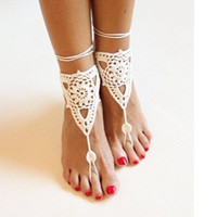 Wholesale Trendy Yoga Wear - WishCart 2016 Sexy Handmade Rope Anklet Crochet Barefoot Sandals Sexy Brides Shoes,Beach Pool Yoga Beach Wear Anklet,Hippy Boho Chic