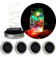Wholesale New Years Led Glasses - led Solar Powered LED Mason Jars Light Up Lid 10 LED String Fairy Star Lights Screw on Lids for Mason Glass Jars new year Christmas Lights