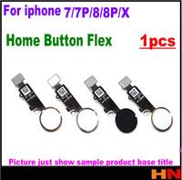 iphone home flex band großhandel-1 stücke für iphone x 7 7 p 8 8 p plus hauptknopf flex flachbandkabel montage farbe ersatzteile montage ohne touch id