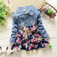 Wholesale Tutu Dresses For Girls Korean - Baby Girls 2015 Autumn Denim Dresses For New Arrival Korean Brand Sweet Good Quality Big Flower Toddler Little Girls Floral Dresses Retail