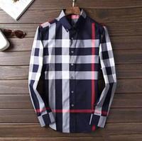 camisas pólo xadrez para homens venda por atacado-HOT 2019 Outono inverno xadrez lapela dos homens de manga comprida Camisa Dos Homens EUA Marca POLO Camisas de Moda 100% Oxford Camisa Ocasional Pequeno Roupas de Cavalo