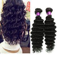 Wholesale hair weave weft sale online - On Sale A Brazilian Deep Wave Virgin Human Hair Extensions Natural Black Inches Bundles Brazilian Virgin Hair Deep Wave Hair Wefts