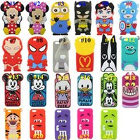 Wholesale Despicable Batman Iphone Case - 3D CARTOON Despicable Me Superman Captain America Mickey Minnie Mouse Duck Batman Silicone Case for Iphone 5S 6 4.7 Plus 5.5 case mix color