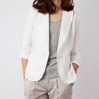 Wholesale Three Quarter Sleeve Suit Jacket - 2015 new arrival summer fall womens coat white casual linen suit womens one buckle three-quarter sleeve thin cotton jackets