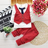 Wholesale Chinese Boys Suit - HOT boys gentleman set 2-7Y Children's Autumn Suits clothes Outfits Tie Outfits Set 3 Colors for choose b11