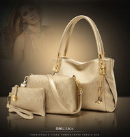 Wholesale Cheap Flower Handbag Purse - Cheap Fashion Women's Handbag bag Purses PU Leather fashion Shoulder Bags Girls embossed pattern Three-piece Messenger Bag 3pcs set bag