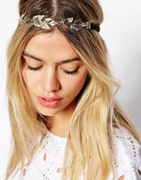 Moda elegante Metal Ouro Folhas de cristal Elastic Hair Band Lady Headbands Hair Jewelry For Party Wholesale