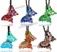 Wholesale Wholesale Blown Glass Pendants - Animal Butterfly Italian venetian lampwork blown murano handmade glass pendants for necklaces cheap fashion lots wholesale jewelry