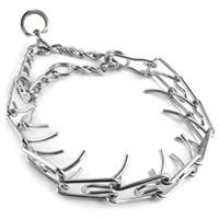 Wholesale Dog Leash Metal - 45  50  55  60cm Adjustable Dog Training Collar Chain Pet Supply Metal Steel Prong Pinch Choke