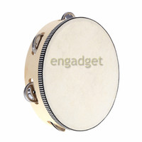 """Wholesale Kids Musical Bells - Toy Musical Instrument Tambourine 8"""" Hand Held Tambourine Drum Bell Birch Metal Jingles Musical Toy for KTV Party Kid 00649"""
