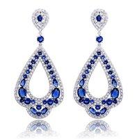 Wholesale Royal Blue Flower Earrings - Exotic Design Open Work Turkish Pear Dangle Earrings in Silver Tone Blue Sapphire CZ Beaded Petal Shape Royal Drop Prom Earrings